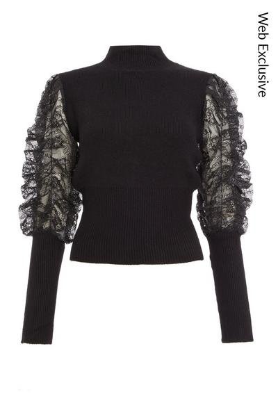 Black Lace Ruched Sleeve Jumper